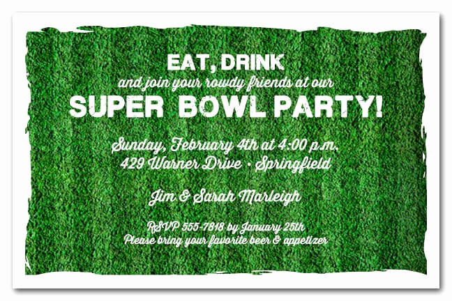Super Bowl Party Invitation Wording Lovely Football Turf Party Invitations