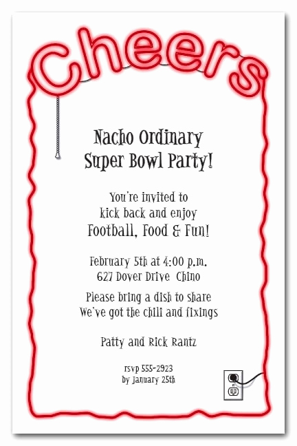 Super Bowl Party Invitation Wording Luxury Cheers Red Neon Sign Super Bowl Party Invitations