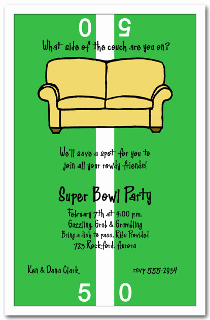 Super Bowl Party Invitation Wording Unique Fifty Yard Line Couch Super Bowl Party Invitation