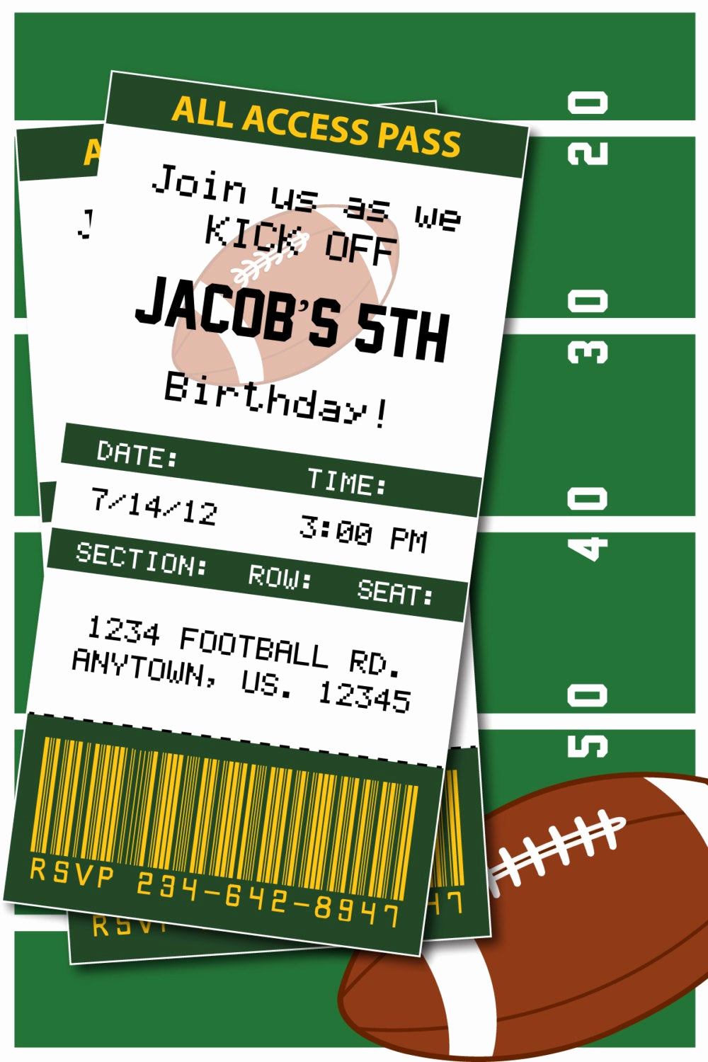Super Bowl Party Invitation Wording Unique Football Birthday Party or Superbowl 2015 by
