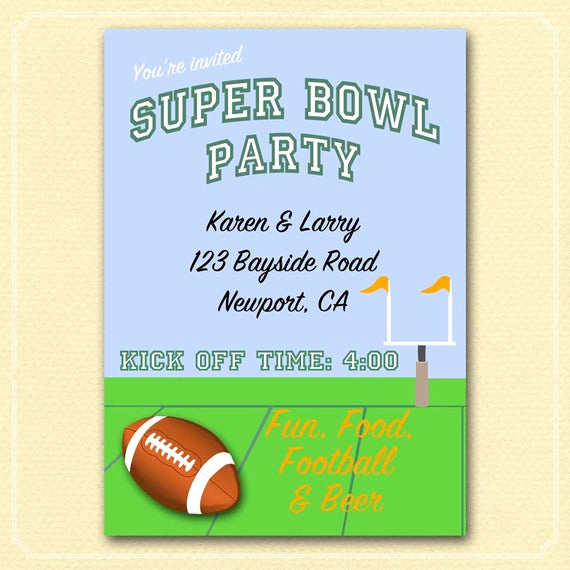 Super Bowl Party Invitation Wording Unique Football Party Invitation Super Bowl Party Custom Made Diy