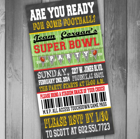 Superbowl Party Invitation Template Awesome Superbowl Party Invitation Ticket Invitation Football