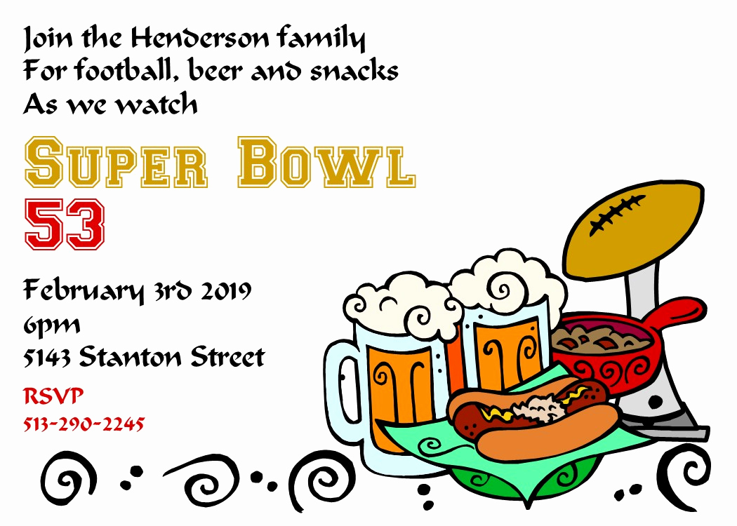 Superbowl Party Invitation Template Beautiful Super Bowl Party Invitations 2018 Football