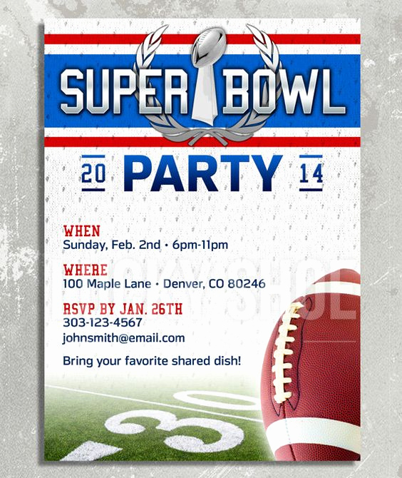 Superbowl Party Invitation Template Best Of Super Bowl Party Invitation Customized Printable Diy