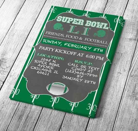 Superbowl Party Invitation Template Elegant Chalkboard Super Bowl Invitation Editable Template