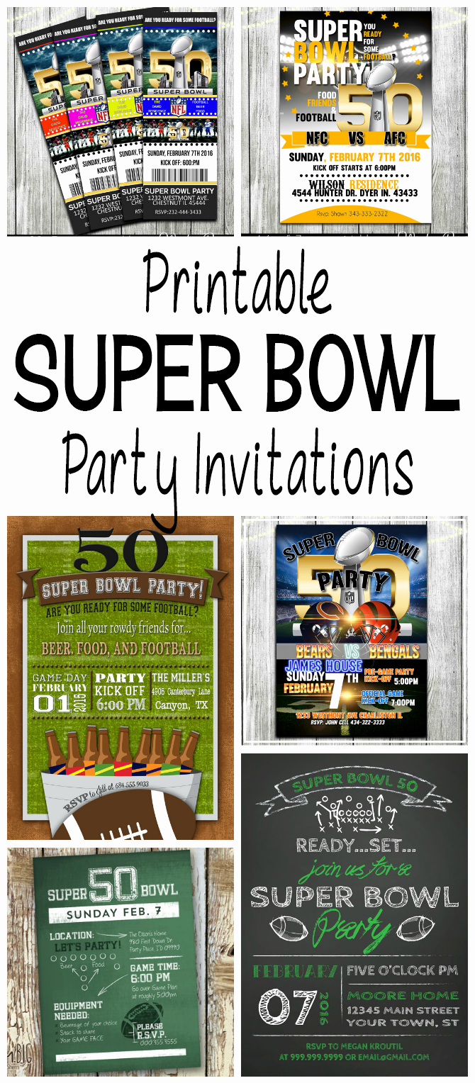 Superbowl Party Invitation Template Fresh Super Bowl 50 Printable Football Party Invitations
