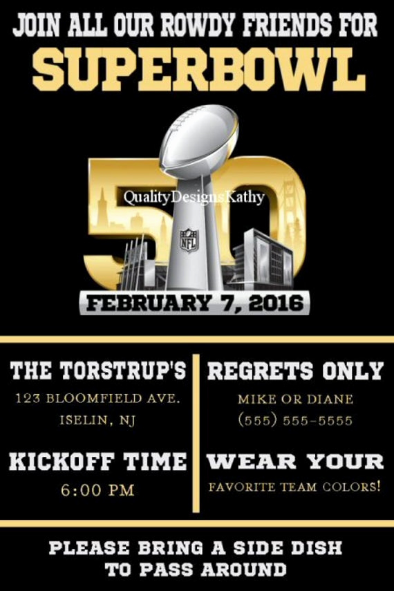Superbowl Party Invitation Template Lovely Super Bowl 50 Printable Football Party Invitations
