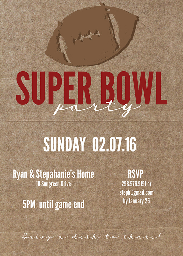 Superbowl Party Invitation Template Unique Super Bowl Printable and Invitation