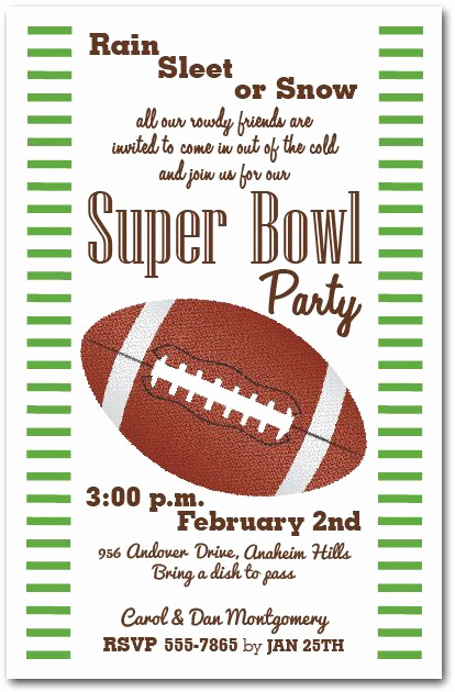 Superbowl Party Invitation Wording Fresh Stripes and Football Super Bowl Invitations