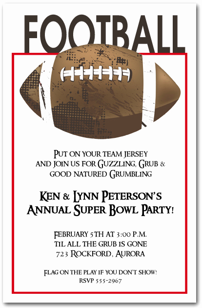 Superbowl Party Invitation Wording Inspirational Football Grunge Super Bowl Party Invitations