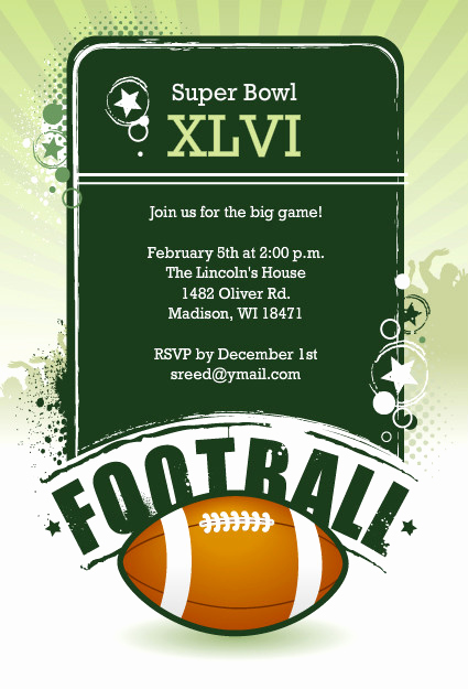 Superbowl Party Invitation Wording Inspirational Football Invitations Festive Super Bowl Party Invitation