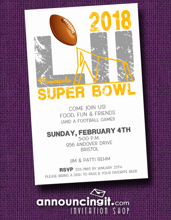 Superbowl Party Invitation Wording Lovely Super Bowl Lii Stadium Party Invitations