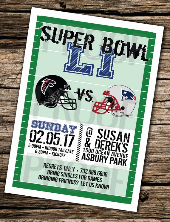Superbowl Party Invitation Wording New Items Similar to Super Bowl Li 2017 Invitation for Digital