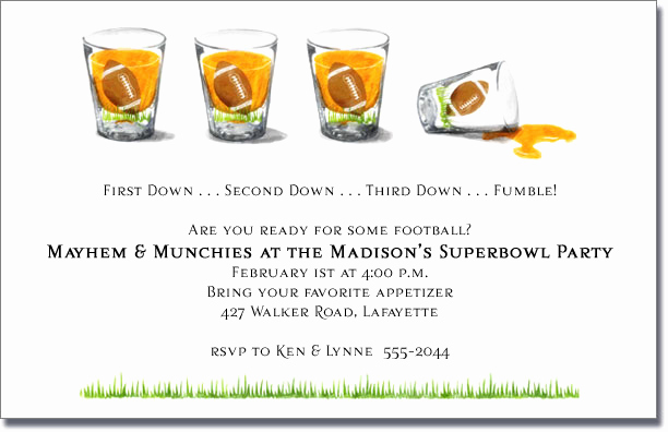 Superbowl Party Invitation Wording Unique Football Shot Glasses Super Bowl Party Invitations