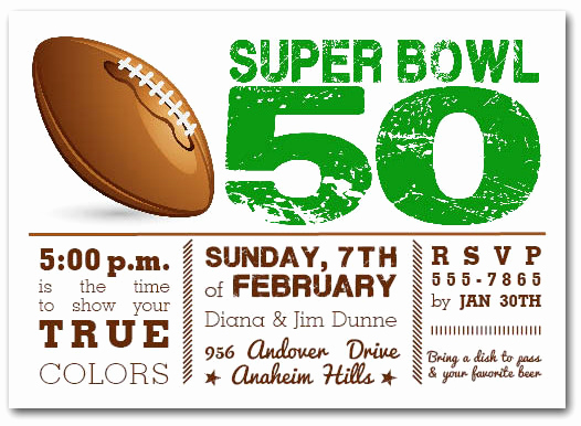 Superbowl Party Invitation Wording Unique Football Super Bowl 50 Party Invitations