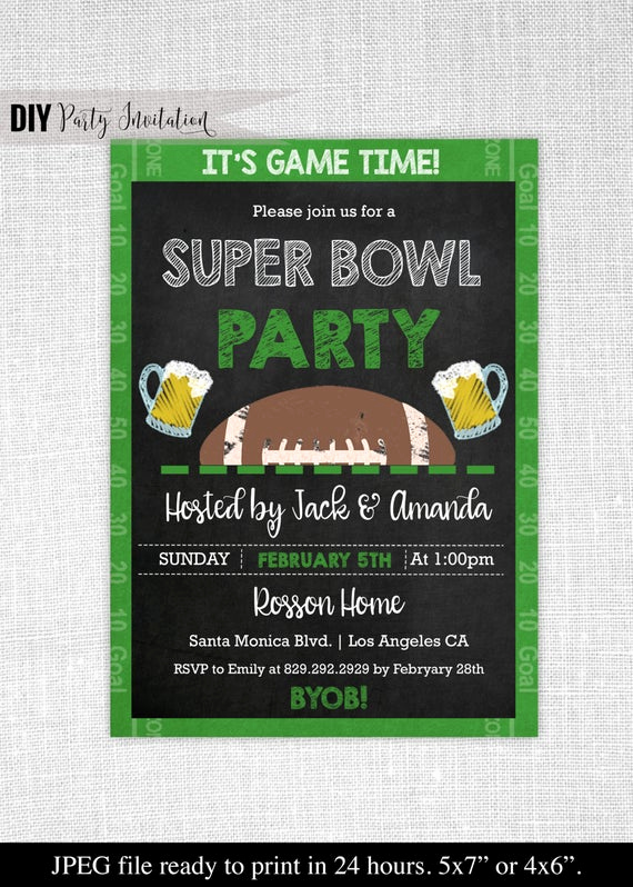 Superbowl Party Invitation Wording Unique Super Bowl Invitation Chalkboard Super Bowl Invitation