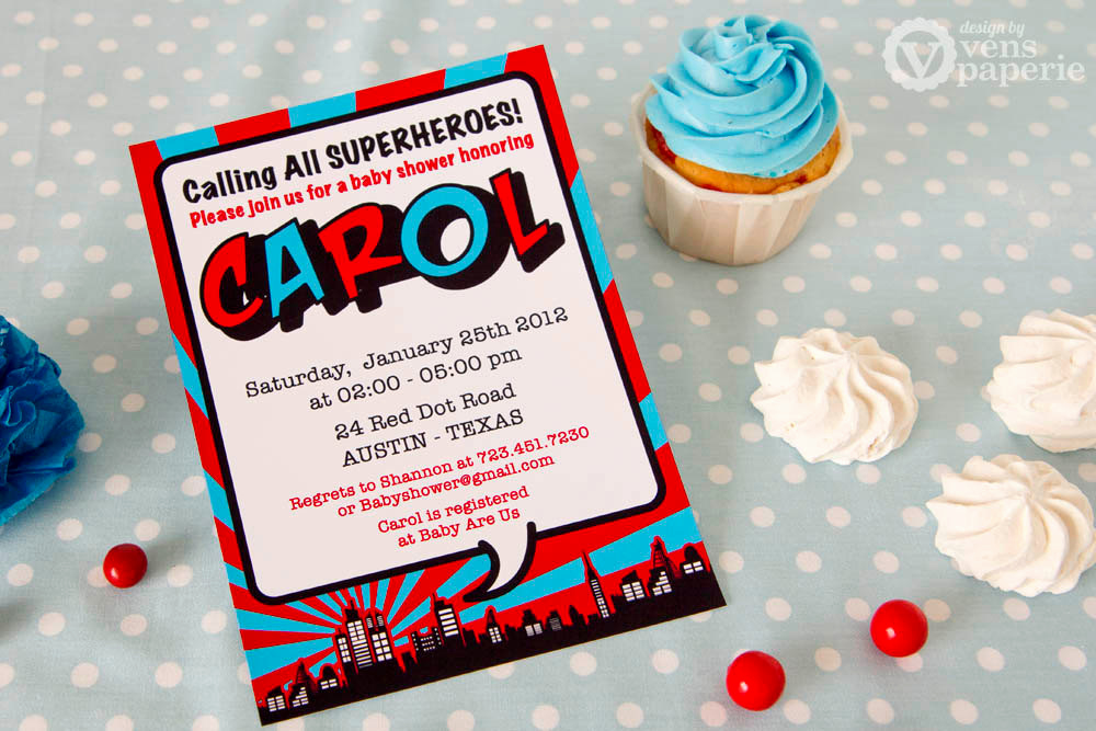 Superhero Baby Shower Invitation Templates Awesome Diy Printable Invitation Card Red Superhero Baby Shower