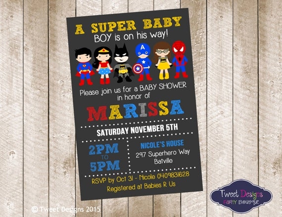 Superhero Baby Shower Invitation Templates Awesome Superhero Baby Shower Invitation Printable by