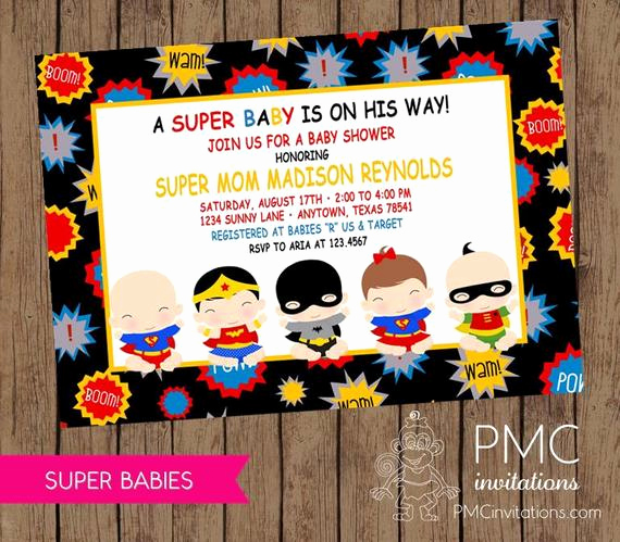 Superhero Baby Shower Invitation Templates Best Of Custom Printed Superbabies Baby Shower by Pmcinvitations