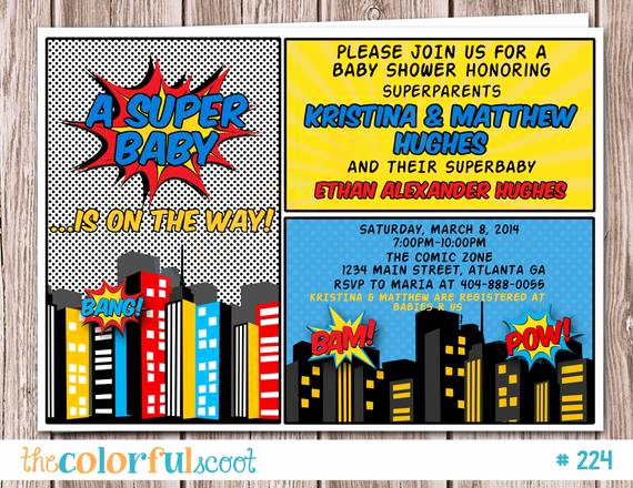 Superhero Baby Shower Invitation Templates Best Of Superhero Baby Shower Invitation Superhero by thecolorfulscoot