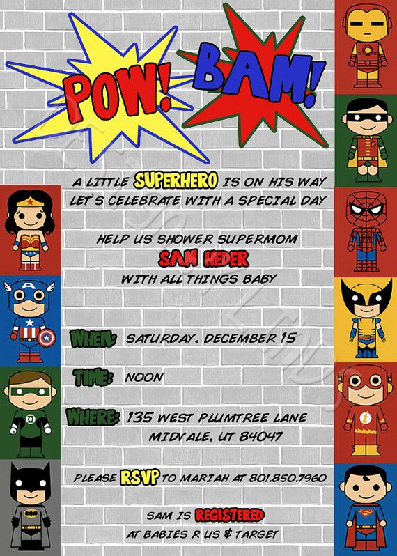 Superhero Baby Shower Invitation Templates Best Of Superhero Baby Shower Package
