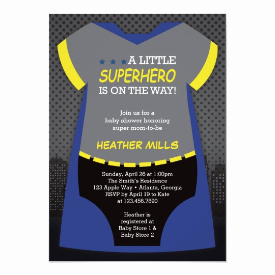 Superhero Baby Shower Invitation Templates Elegant Superhero Baby Shower Invitation Blue Black Card