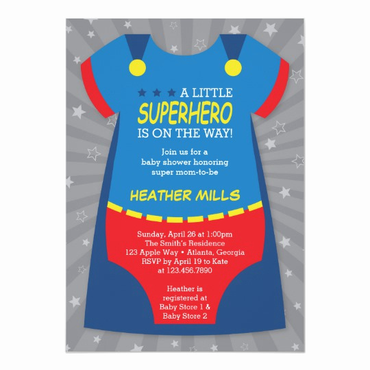 Superhero Baby Shower Invitation Templates Fresh Superhero Baby Shower Invitation Blue Red Card