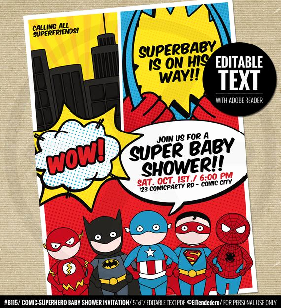 Superhero Baby Shower Invitation Templates Inspirational Superhero Baby Shower Invitation Printable Baby by Eltendedero