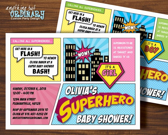 Superhero Baby Shower Invitation Templates Lovely Superhero Baby Shower Invitation Printable Super Hero Party