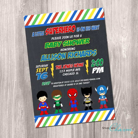 Superhero Baby Shower Invitation Templates New Superhero Baby Shower Invitation Super Hero Baby Shower