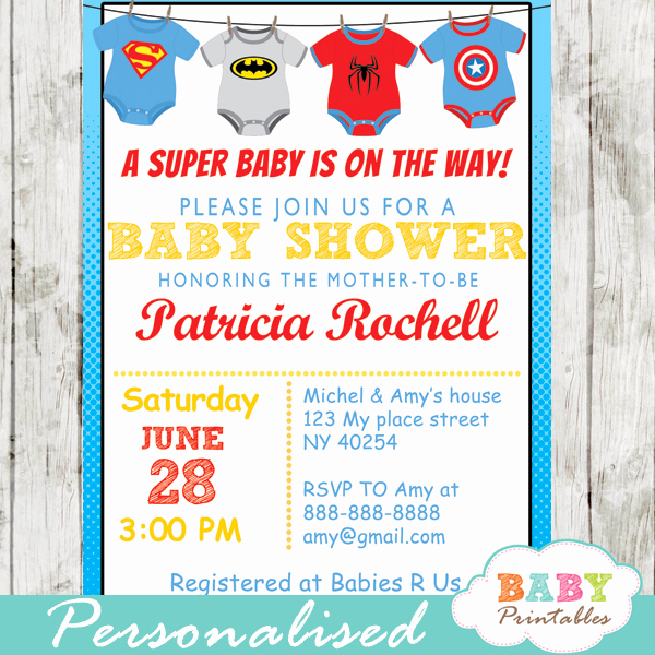 Superhero Baby Shower Invitation Templates New Superhero Baby Shower Invitations Superhero Baby Shower