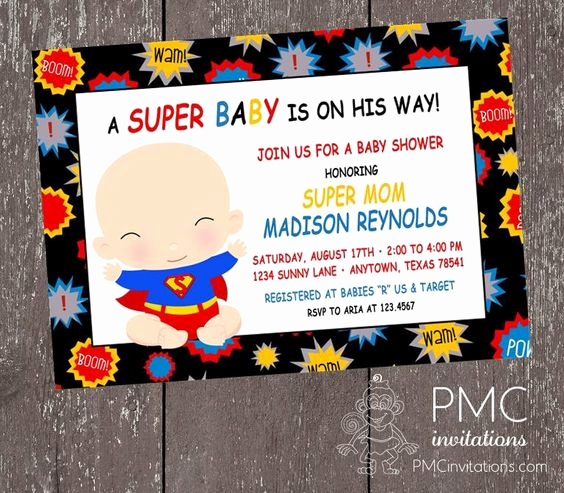 Superhero Baby Shower Invitation Templates Unique Custom Printed Superhero Baby Shower Invitations 1 00
