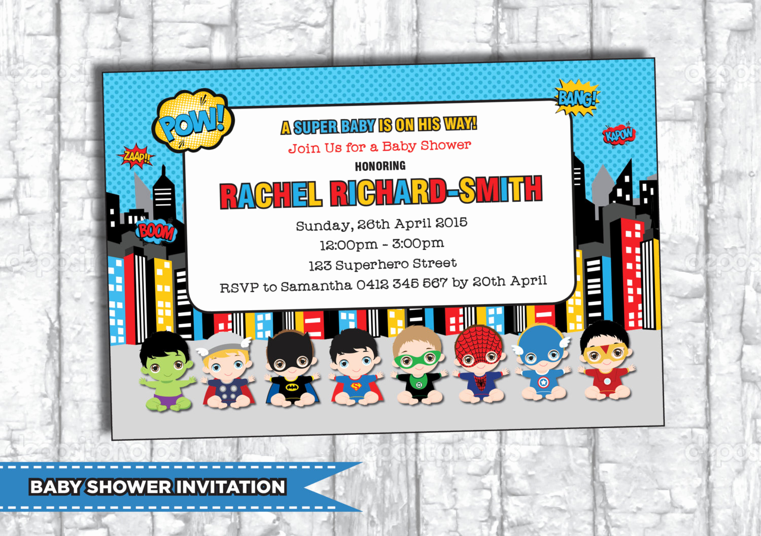 Superhero Baby Shower Invitation Templates Unique Superhero Baby Shower Invitation Personalized by