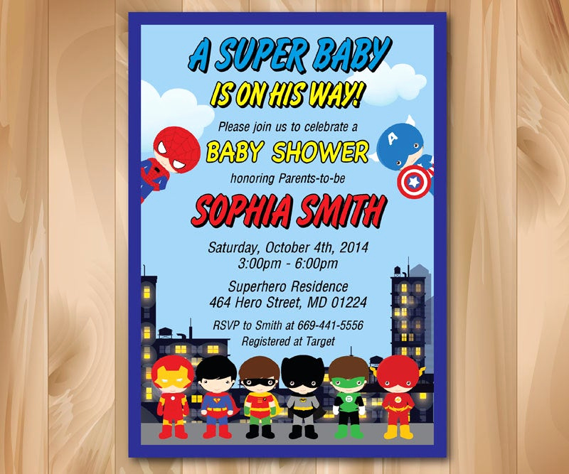 Superhero Baby Shower Invitation Templates Unique Superhero Baby Shower Invitation Super Hero Baby Shower