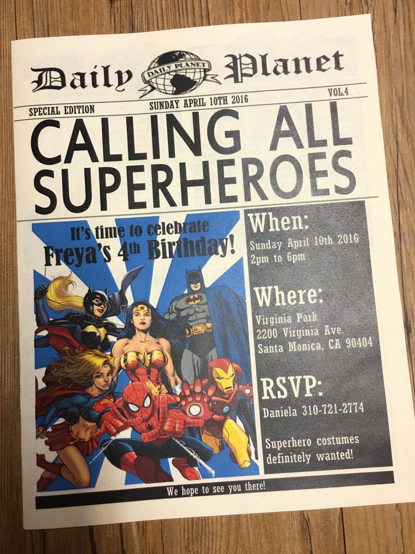 Superhero Birthday Invitation Template Best Of Newspaper Invitation Superhero Invitation Daily