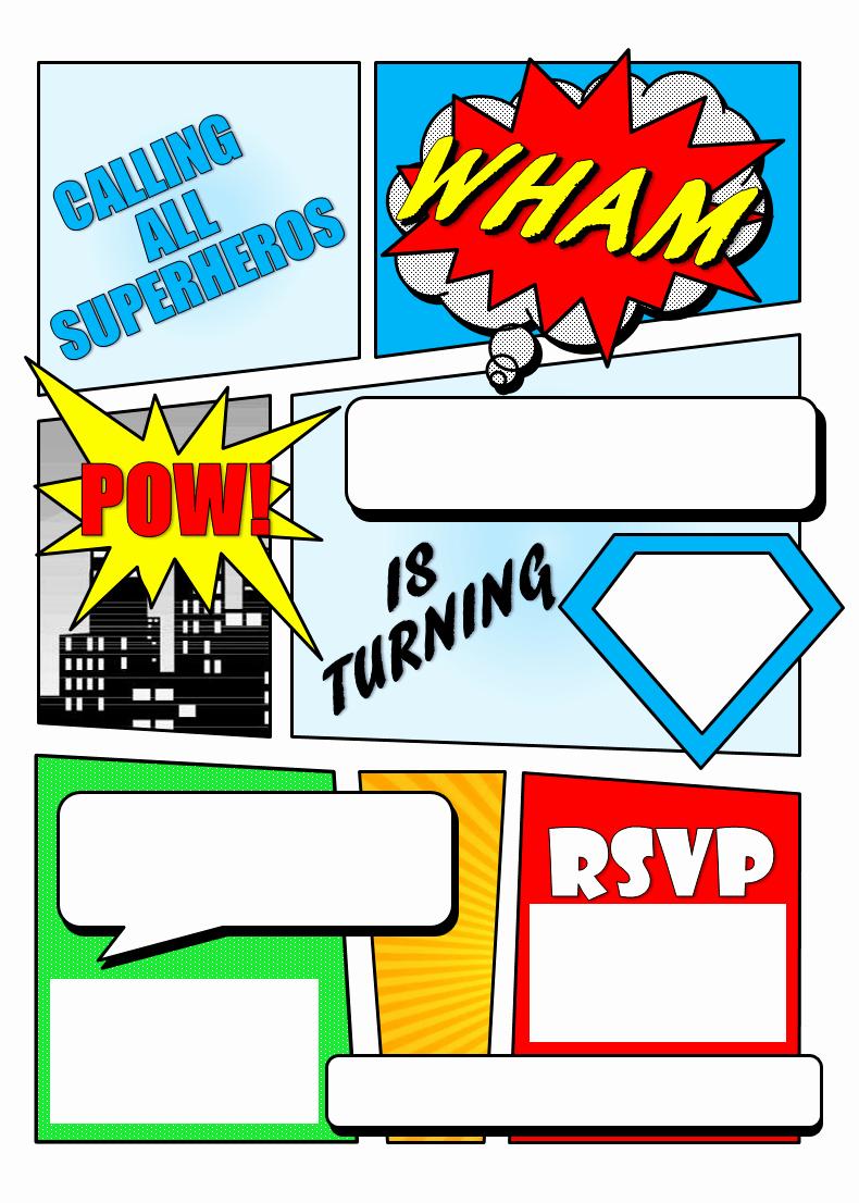 Superhero Birthday Invitation Template Elegant Superhero Ic Book Party Invitation with Free Printable