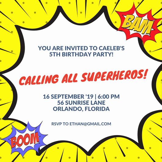 Superhero Birthday Invitation Template Elegant Superhero Invitation Templates Canva