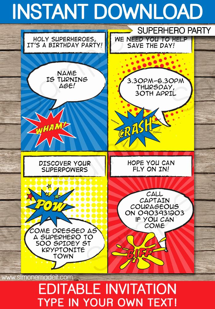 Superhero Birthday Invitation Template Lovely Superhero Party Invitations