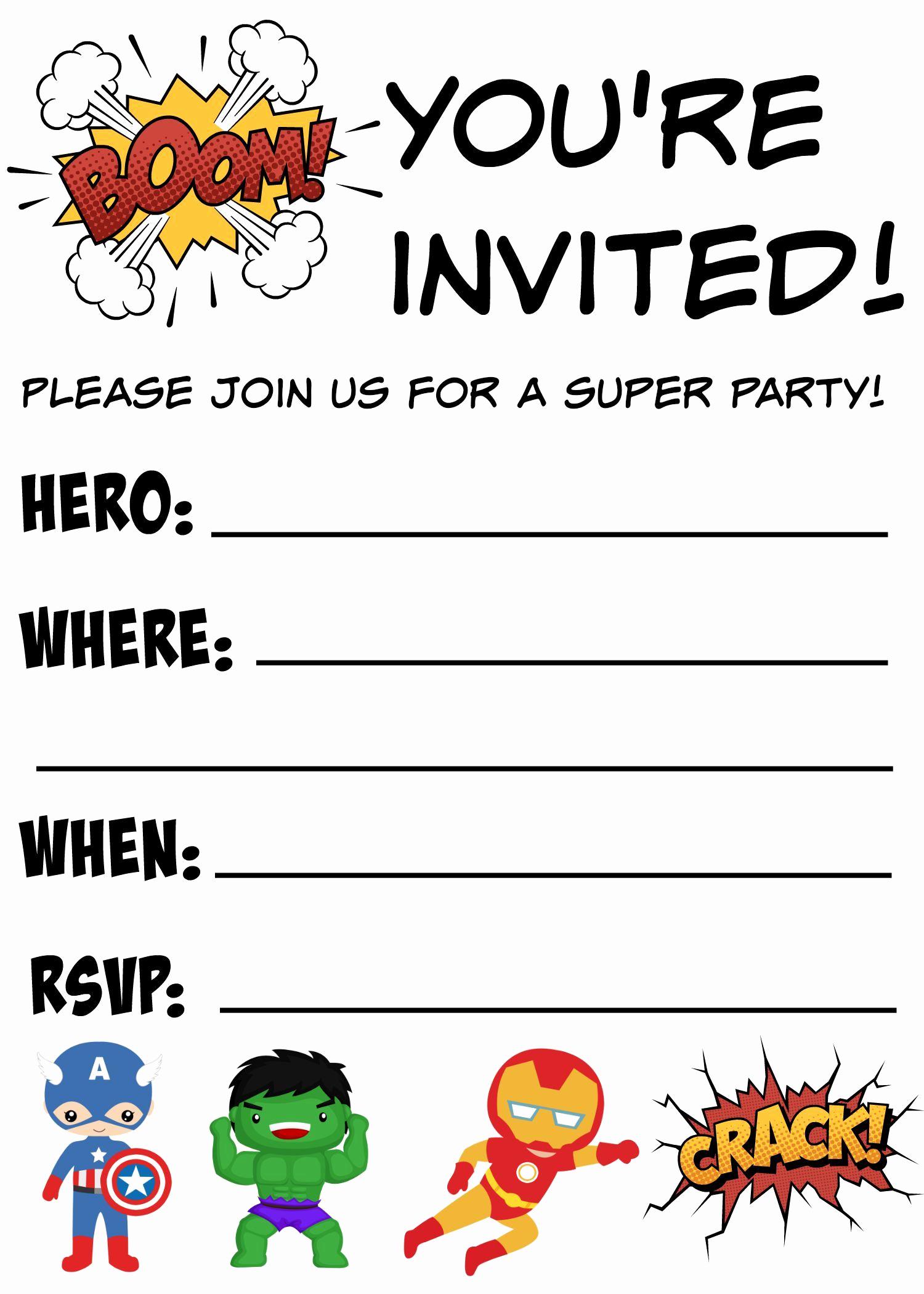 Superhero Birthday Invitation Template Unique Free Printable Superhero Birthday Invitations