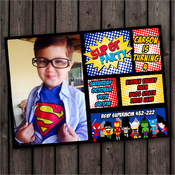 Superhero Birthday Invitation Wording Beautiful 30 Superhero Birthday Invitation Templates Psd Ai