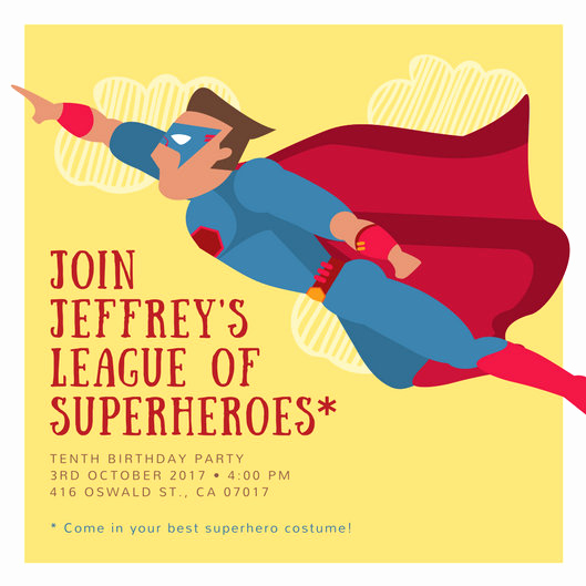 Superhero Birthday Invitation Wording Beautiful Customize 113 Superhero Invitation Templates Online Canva