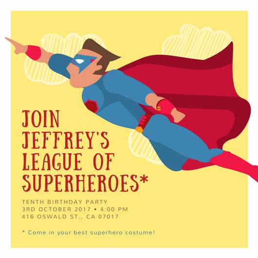 Superhero Birthday Invitation Wording Beautiful Customize 113 Superhero Invitation Templates Online Canva
