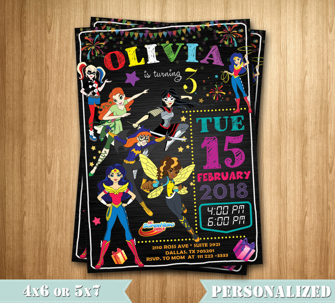 Superhero Birthday Invitation Wording Beautiful Dc Superhero Girls Invitation Superhero Girls by