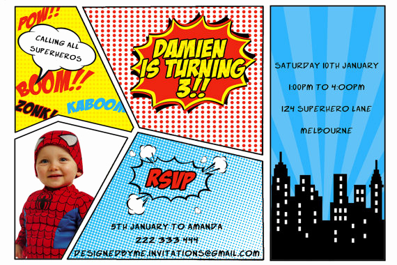Superhero Birthday Invitation Wording Beautiful Printable Superhero Birthday Invitation Diy Printing Jpeg
