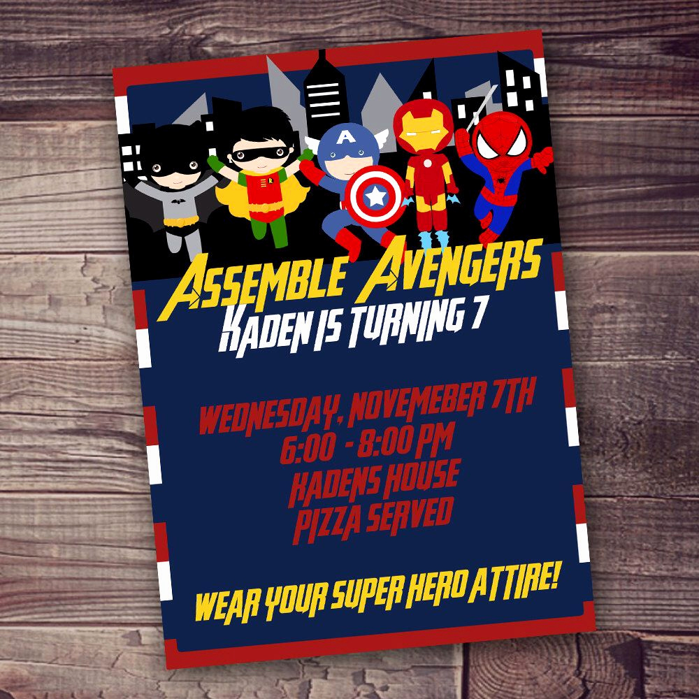 Superhero Birthday Invitation Wording Fresh Fast Customized Superhero Birthday Invitation Avengers