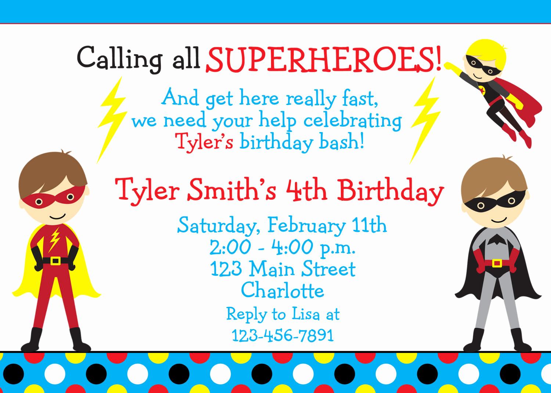 Superhero Birthday Invitation Wording Lovely Superhero Birthday Party Invitation Super Hero Superheros