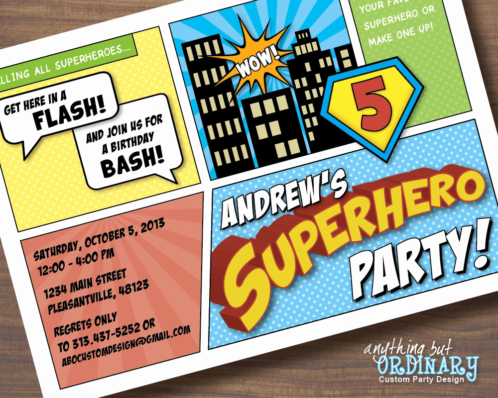 Superhero Birthday Invitation Wording Luxury Superhero Birthday Invitations Printable Superhero