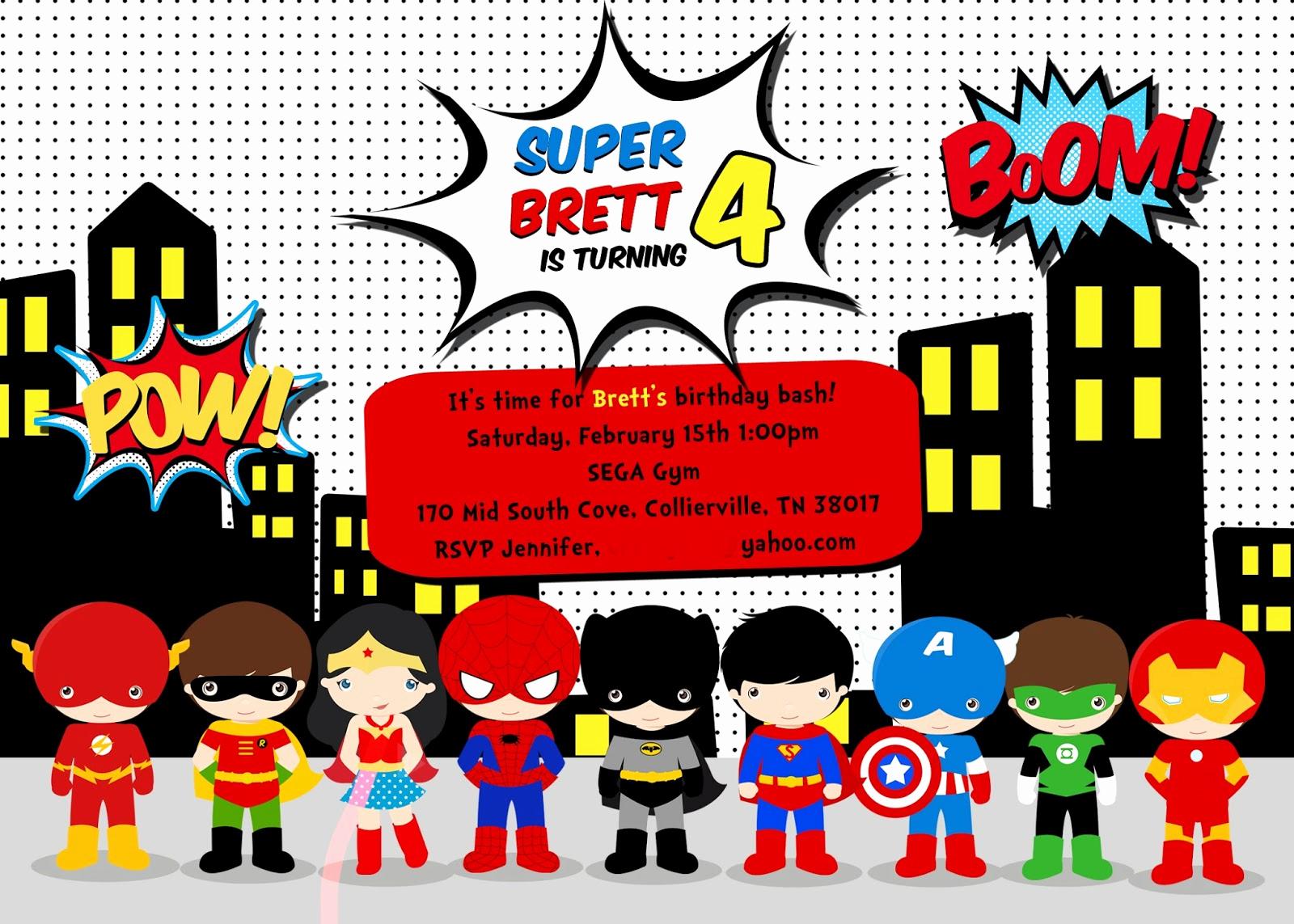 Superhero Birthday Invitation Wording New Greygrey Designs My Parties Brett S Superhero 4th