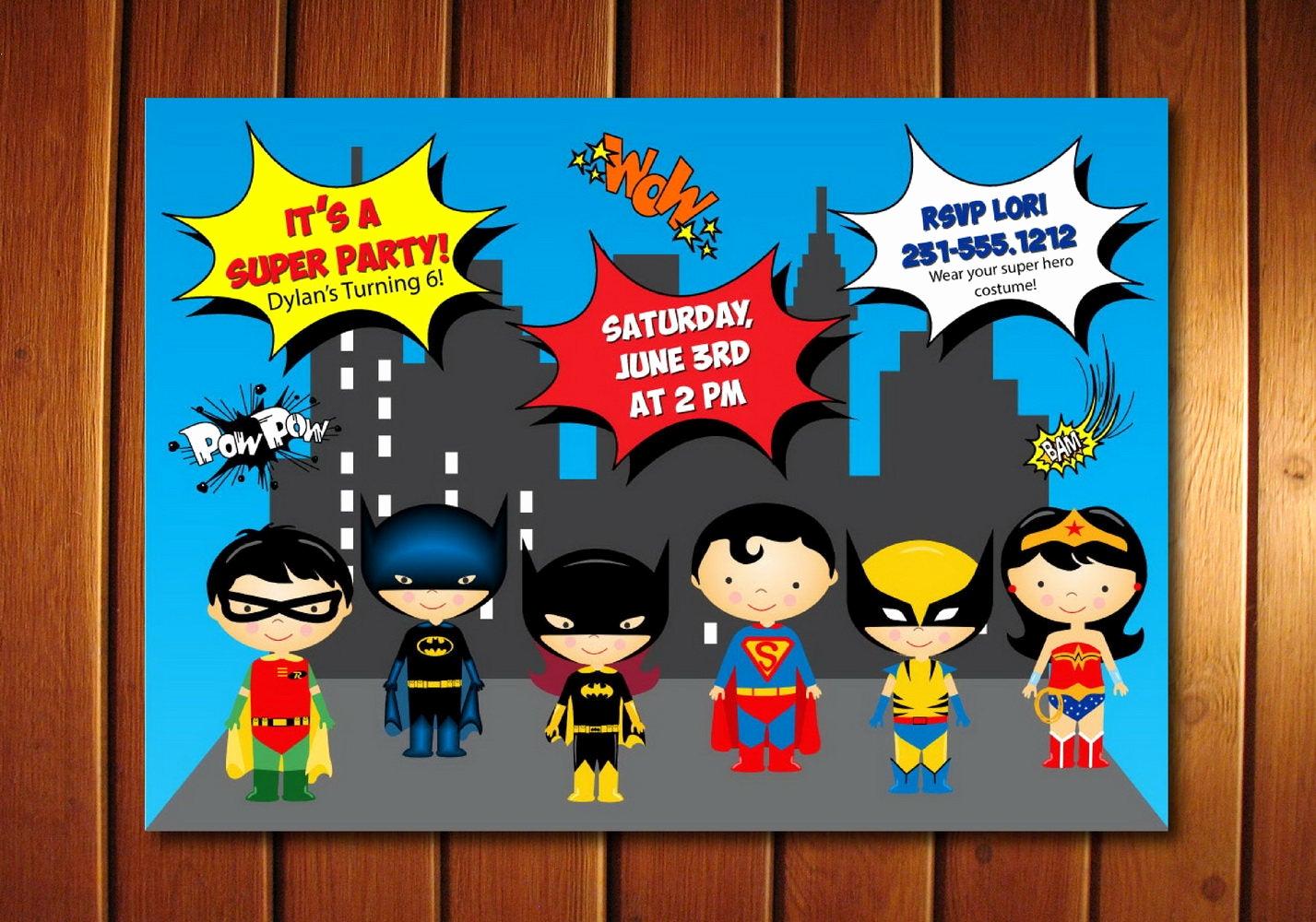 Superhero Birthday Invitation Wording Unique Super Hero Invitation Kids Super Hero Birthday Invitation