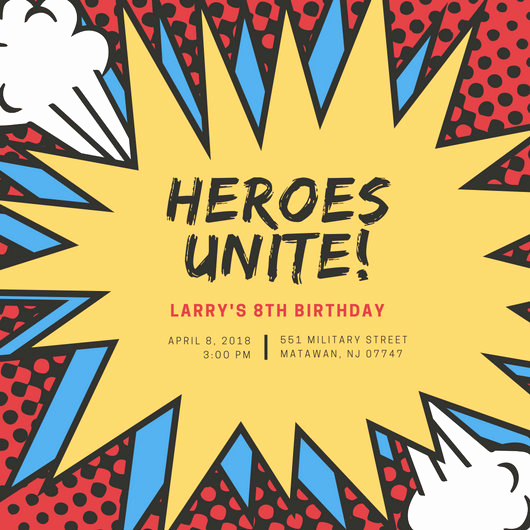 Superhero Invitation Template Download Best Of Customize 113 Superhero Invitation Templates Online Canva